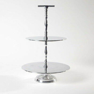 Beautiful Aluminium 2 Tier Cake Stand - 44Cm Tall Cup Cakes Or Wedding Cake!