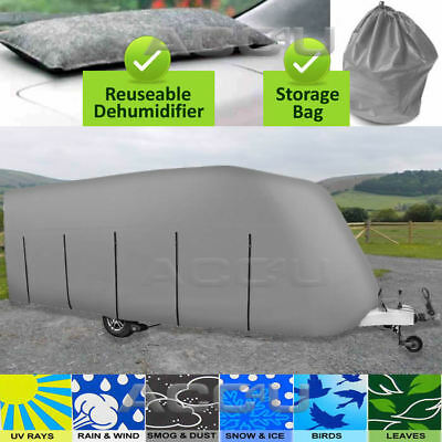 Maypole MP9432 14-17ft Grey Breathable Heavy Duty 4 PLY Caravan Cover + DeMister