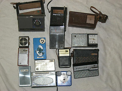12 Vintage Transistor Radio, Channel Master, Kensington, Ross, As Is Lot