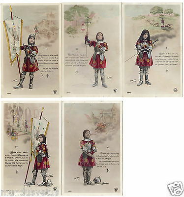 lot 5 cartes.l'histoire de JEANNE D'ARC.the story of  jeanne d'arc.