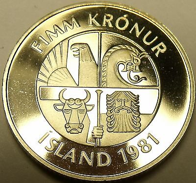 Rare Proof Iceland 1981 5 Kronur~Only 15,000 Minted~Two Dolphins Leaping~Free Sh