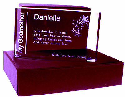 Personalised Godparents,Godmother,Godfather Glass Blocks & Plaques With Gift Box