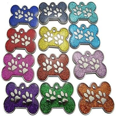 Engraved Pet ID Tags DOG Bone&Paw Glitter 28mm Disc Engraved FREE,Inc Postage