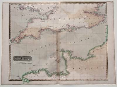 1814 British Channel - Large Antique Map, Thomson, Hand Colour - England, France