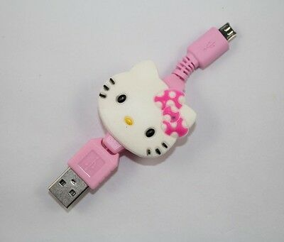 Cute Hello Kitty Retractable USB Data Line Charging Cable for SamSung