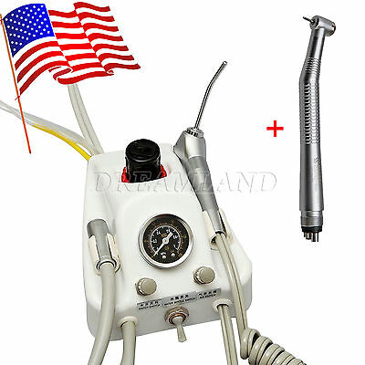 Dental Portable Air Turbine Unit 4H work w/ Compressor+High speed Handpiece USA