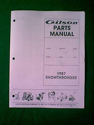 Gilson Model St1032 55364 Snowthrower Parts Manual 1987