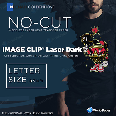 IMAGE CLIP LASER DARK Heat Transfer Paper 8.5 x 11, 10 Sheets :)