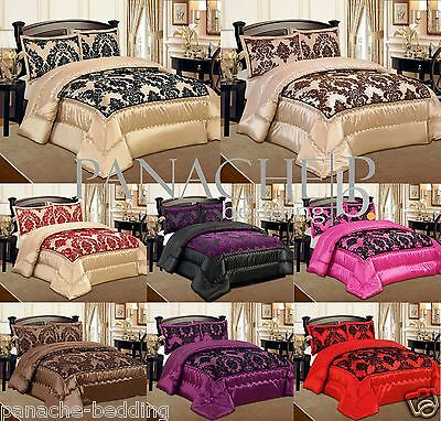 Luxury 3pcs Flock Quilted Bed Spread Bedspread Comforter Set Double & King