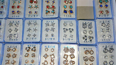 Joblot of 72 Pairs Mixed colour Diamante Hypoallergenic Earrings - NEW Wholesale