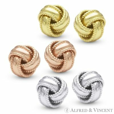 .925 Sterling Silver Love Knot Stud Earrings Studs - 14k Gold or Rhodium Plated