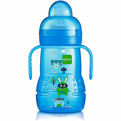 Mam 220 Ml Trainer Spout Bottle With Handle (Blue)