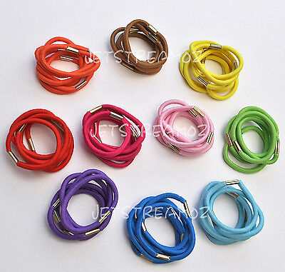 New Snagless Hair Ties Band Elastic Ponytailer 4mm Width Candy color