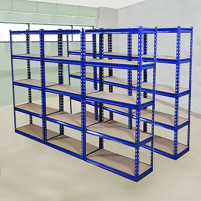 6 Pack 5Tier Wide Heavy Duty Boltless Metal Warehouse Industrial Racking Storage