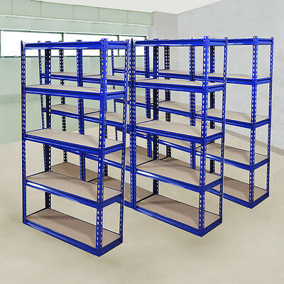 7 Pack 5Tier Wide Heavy Duty Boltless Metal Warehouse Industrial Racking Storage