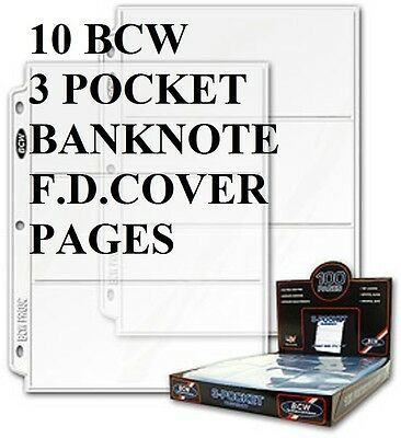 10 Bcw 3 Pocket Pages  Banknotes Or Small First Day Covers