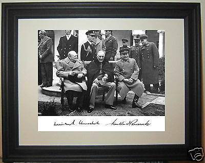 Franklin Roosevelt FDR Winston Churchill Big 3 Facsimile Autograph Framed Photo