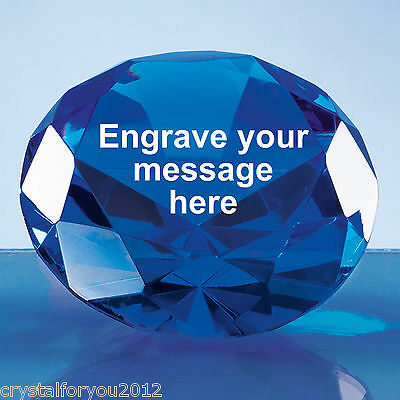 10cm Optical Crystal Azure Blue Diamond Paperweight Award Personalised Engraved
