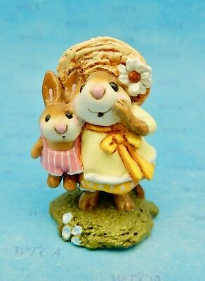 MISS DAISY by Wee Forest Folk, WFF# M-182, YELLOW W/PINK BUNNY, Retired 2011