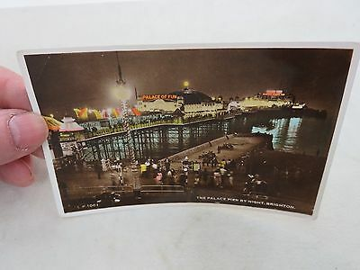 The Palace Pier By Night Brighton Uk Postcard