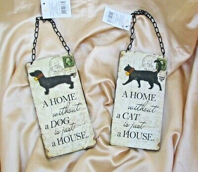 Vintage Style Sign 'a Home Without A Cat / Dog Is Just A House' Hanging Chain