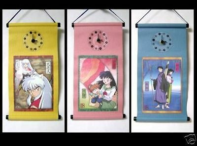INUYASHA wall scroll with clock set of 3 BANPRESTO official anime Authentic