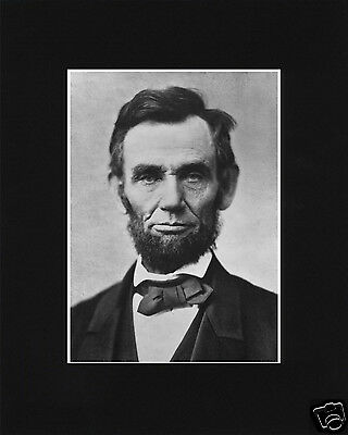 President Abraham Lincoln Portrait Black Matted Photo Picture