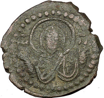 JESUS CHRIST Class G Anonymous 1068AD VIRGIN ORANS Byzantine Follis Coin  i35797