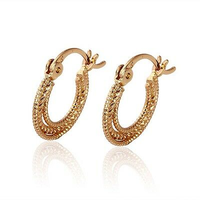 """9ct 9K Yellow """"Gold Filled"""" Girls  Three Layer Cute Small Hoop Earrings14mm Gift"""