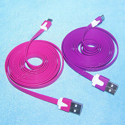 2X 2M/6FT Long Micro USB Charger & Sync Cable For Samsung Galaxy Exhibit T599