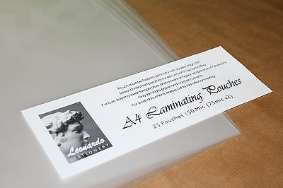 A4 Or A3 Gloss 'Leonardo' Laminating Pouches. 150 Micron (2 X 75) Quality Sleeve