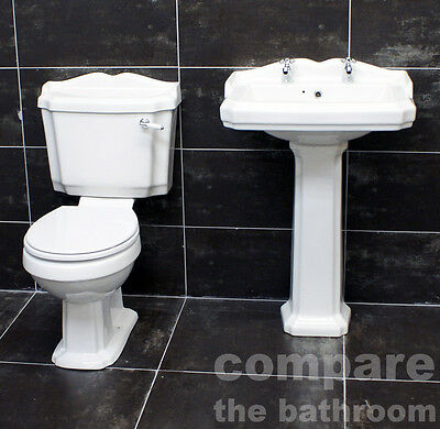 Legend Traditional Victorian Sink Basin + Toilet Set Suite +FREE Soft Close Seat