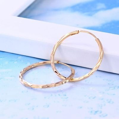 """9K 9ct Yellow /""""GOLD FILLED/"""" Ladies Girls Stylish Large Hoop Earrings Gift 65mm"""