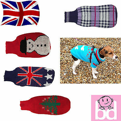 Knitted Dog Jumper Sweater Warm Winter Xmas Christmas Pet Clothes Coat Jacket