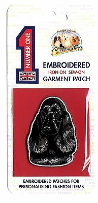 Cocker Spaniel Black - Embroidered Garment Patch - Iron On - Sew On
