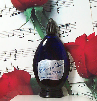 Evening In Paris Bubble Bath Oil 2.0 Oz. By Bourjois. Vintage.Cobalt Blue Bottle