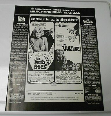 1967 DEADLY BEES / VULTURE Horror Press Book Kit RARE FN+