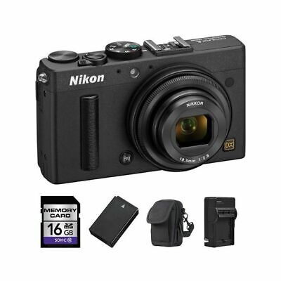 Nikon Coolpix A Digital Camera - Black + 2 Batteries, 16GB & More