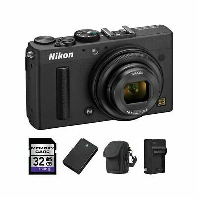 Nikon Coolpix A Digital Camera - Black + 2 Batteries, 32GB & More