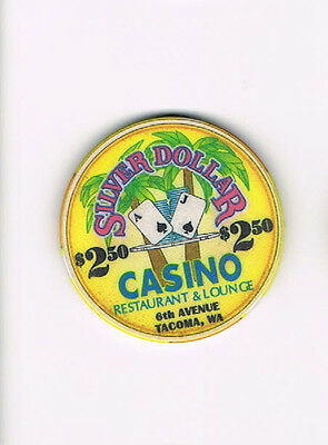 Tacoma WA Silver Dollar Casino Lounge $2.50 Casino Chip -Two Dollars Fifty Cents