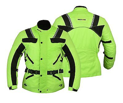 Motero Mens Motorcycle Bikers CE Armoured High Visibility Cordura Jacket HI VIZ