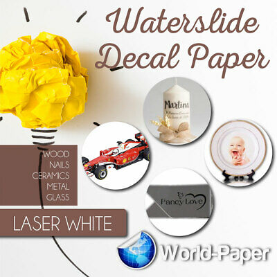 "LASER Waterslide WHITE Decal Paper, 20 sheet,  8.5"" x 11"" :)"