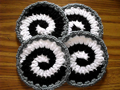 New Hand Made Crochet Coasters Set of 4 Listing # R059 DOLL HOUSE RUGS