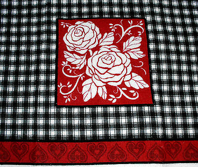 Kitchen Dish Towels W Crochet Tops  listing # t432 Valentine's Day Hearts Roses