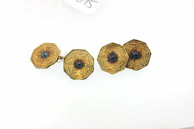 ANTIQUE VICTORIAN 14k ETCHED YELLOW GOLD FRENCH CUFF LINKS SAPPHIRE GLASS CABS