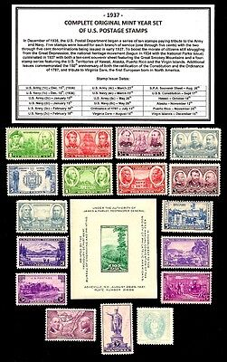 1937 COMPLETE YEAR SET OF MINT -MNH- VINTAGE U.S. POSTAGE STAMPS