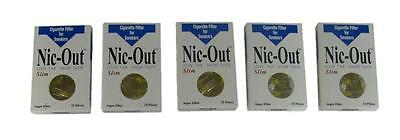 NIC OUT Cigarette Super Slim Filters Smokers 5 Packs (125 Filters) Disposable