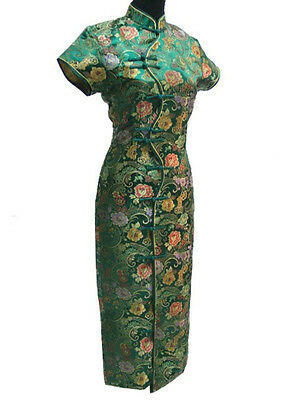 51f729cb62fe Vtg Women Green Long Traditional Chinese Evening Prom Club Dress Cheongsam  Qipao