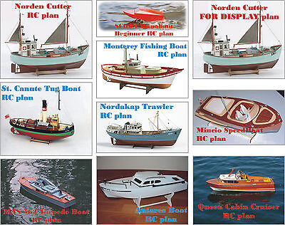 10 Model Boat/Ship CUTTING Plans - Great Collection On CD - for RC or Display
