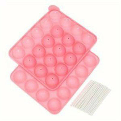 Silicone Cup CAKE POP SET Mould Maker Baking Tray with 20 Sticks Bakeware